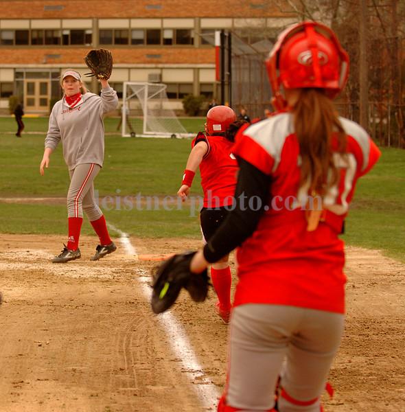 VSSHS #10 catcher Geanna Matteo readies a throw to 1B #8 Alex Moran.   VSSHS vs Friends, April 17th, 2007. Photo by Kathy Leistner