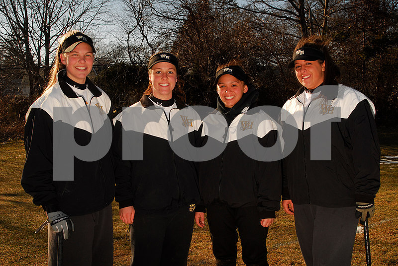 Seniors, L-R, Kristyn Sandberg, Katie Johansen, Lauren Leone, Ashley Bonheur. W. Hempstead. Photo by Kathy Leistner.