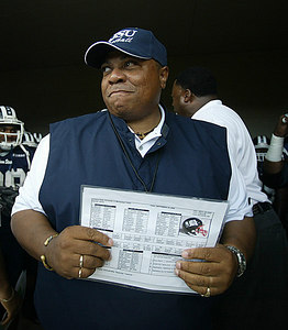 Jackson State University Football Coach Rick Comegy gathers his thoughts before the start of the season opener against Paul Quinn College.