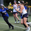 CARL RUSSO/Staff photo. Central Catholic defeated Methuen 15-5 in Girls Lacrosse Division I North First Round Tuesday night. Central's Vanessa Pino races towards the net to set up a play. 5/27/2014.