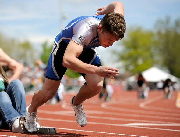 "Broomfield High School's Trent Ireland gets a good start in the boys class 4A 400-meter dash during the 2011 Colorado State Track and Field Championships on Saturday, May 21, at Jeffco Stadium in Lakewood. For more photos go to  <a href=""http://www.dailycamera.com"">http://www.dailycamera.com</a><br /> Jeremy Papasso/ Camera"