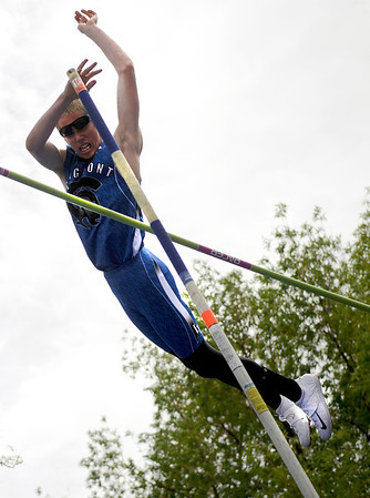 "Longmont High School's Derek Wing clears the mark in the boys class 4A Pole Vault during the 2011 Colorado State Track and Field Championships on Saturday, May 21, at Jeffco Stadium in Lakewood. For more photos go to  <a href=""http://www.dailycamera.com"">http://www.dailycamera.com</a><br /> Jeremy Papasso/ Camera"