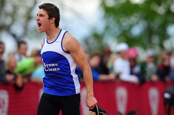 20110521_TROY_STATE_JB_TRIFFET.JPG Lyons' Anthony Triffet screams to teammate Matthew Radsch, who was leading the 4x100 relay after the final exchange during the State Track and Field Championships Saturday May 21, 2011 at Jefferson County Stadium. (Joshua Buck/Times-Call)