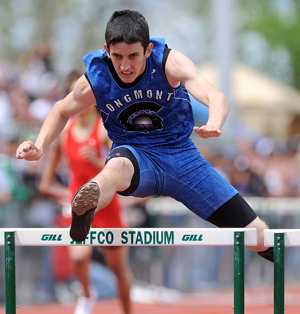 20110521_TROL_STATE_LG_HITCHCOCK.JPG Longmont's Braden Hitchcock competes in the 300 meter hurdles during the State Track and Field Championships Saturday May 21, 2011 at Jefferson County Stadium. (Lewis Geyer/Times-Call)