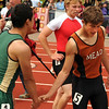"Mead High School's Alex Mead, right, gets congratulated by another runner after winning the boys class 3A 100-meter dash during the 2011 Colorado State Track and Field Championships on Saturday, May 21, at Jeffco Stadium in Lakewood. For more photos go to  <a href=""http://www.dailycamera.com"">http://www.dailycamera.com</a><br /> Jeremy Papasso/ Camera"