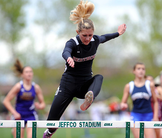 20110521_TROB_STATE_LG_LEONARD.JPG Berthoud's Julia Leonard competes in the 300 meter hurdles during the State Track and Field Championships Saturday May 21, 2011 at Jefferson County Stadium. (Lewis Geyer/Times-Call)