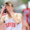 Fairview's Kyle Krahenbuhl reacts to finishing second after leading through the majority of the final leg of the Men's 4x800 during the State Track and Field Championships at Jefferson County Stadium in Lakewood, Colorado May 19, 2011.  CAMERA/Mark Leffingwell