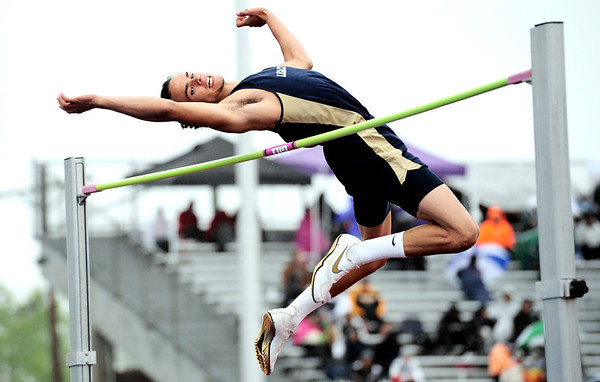 """Legacy's Cameron McWee attempts 6'8"""" during the State Track and Field Championships at Jefferson County Stadium in Lakewood, Colorado May 19, 2011.  CAMERA/Mark Leffingwell"""