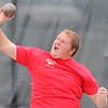 Skyline's Richard Feltenberger lets the shot put fly during the State Track and Field Championships at Jefferson County Stadium in Lakewood, Colorado May 19, 2011.  CAMERA/Mark Leffingwell