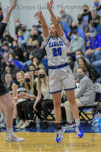 #20 SW Christian forward Dayton Flowers takes a jumper outside the key. Southwest Christian HS girls basketball vs. Dallas Christian HS girls basketball in the TAPPS 5A semifinals, March 9, 2021