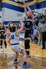 #21 Dallas CHS forward Caitlynn Jordan takes a jumper as  SWCHS guard #12 Haylee Davis defends. <br /> Southwest Christian HS girls basketball vs. Dallas Christian HS girls basketball in the TAPPS 5A semifinals, March 9, 2021