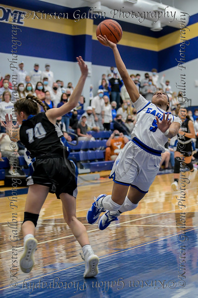 #5 SWC guard Arieona Rosborough attempts a lay-up. Southwest Christian HS girls basketball vs. Dallas Christian HS girls basketball in the TAPPS 5A semifinals, March 9, 2021