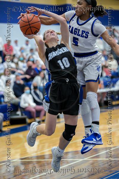 #5 SWCHS guard Arieona Rosborough gets a hand on the ball for the block as #10 Dallas CHS guard Jenna Rasbury attempted a lay-up.<br />  Southwest Christian HS girls basketball vs. Dallas Christian HS girls basketball in the TAPPS 5A semifinals, March 9, 2021