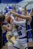 #35 SWCHS guard Teagan Milliken gets double teamed after grabbing a rebound. <br /> Southwest Christian HS girls basketball vs. Dallas Christian HS girls basketball in the TAPPS 5A semifinals, March 9, 2021