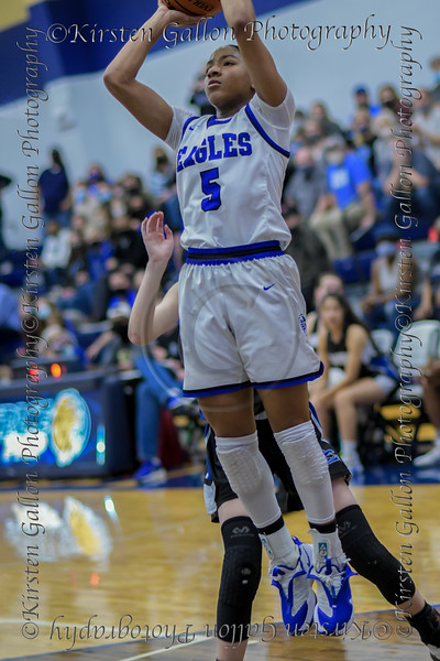 #5 SWCHS guard Arizona Rosborough shoots a jumper inside the key. <br /> Southwest Christian HS girls basketball vs. Dallas Christian HS girls basketball in the TAPPS 5A semifinals, March 9, 2021