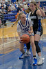 #10 SWCH forward Emily Doane makes a pass in the lane against a defensive stance by #34 Dallas CHS forward Ansley Hughes. <br /> Southwest Christian HS girls basketball vs. Dallas Christian HS girls basketball in the TAPPS 5A semifinals, March 9, 2021