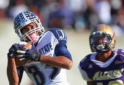 Jackson State Receiver Rico Richardson hauls in a touchdown during the first half