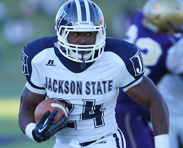 Jackson State running back Tommy Gooden turns the corner and heads in for a touchdown during the first half of play against Alcorn State.