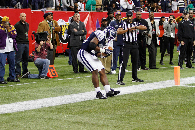 Tommy Goodman was called out of bounds on this apparent touchdown which ended the game. Southern University defeated Jackson State for the 2013 SWAC championship, 34-27 in OT. (Charles A. Smith/For the Clarion Ledger)