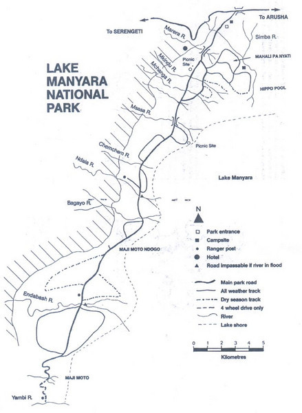 map of Lake Manyara National Park