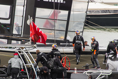 Spithill and crew before the pre-race show.