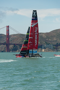 Team New Zealand on practice run in San Francisco Bay