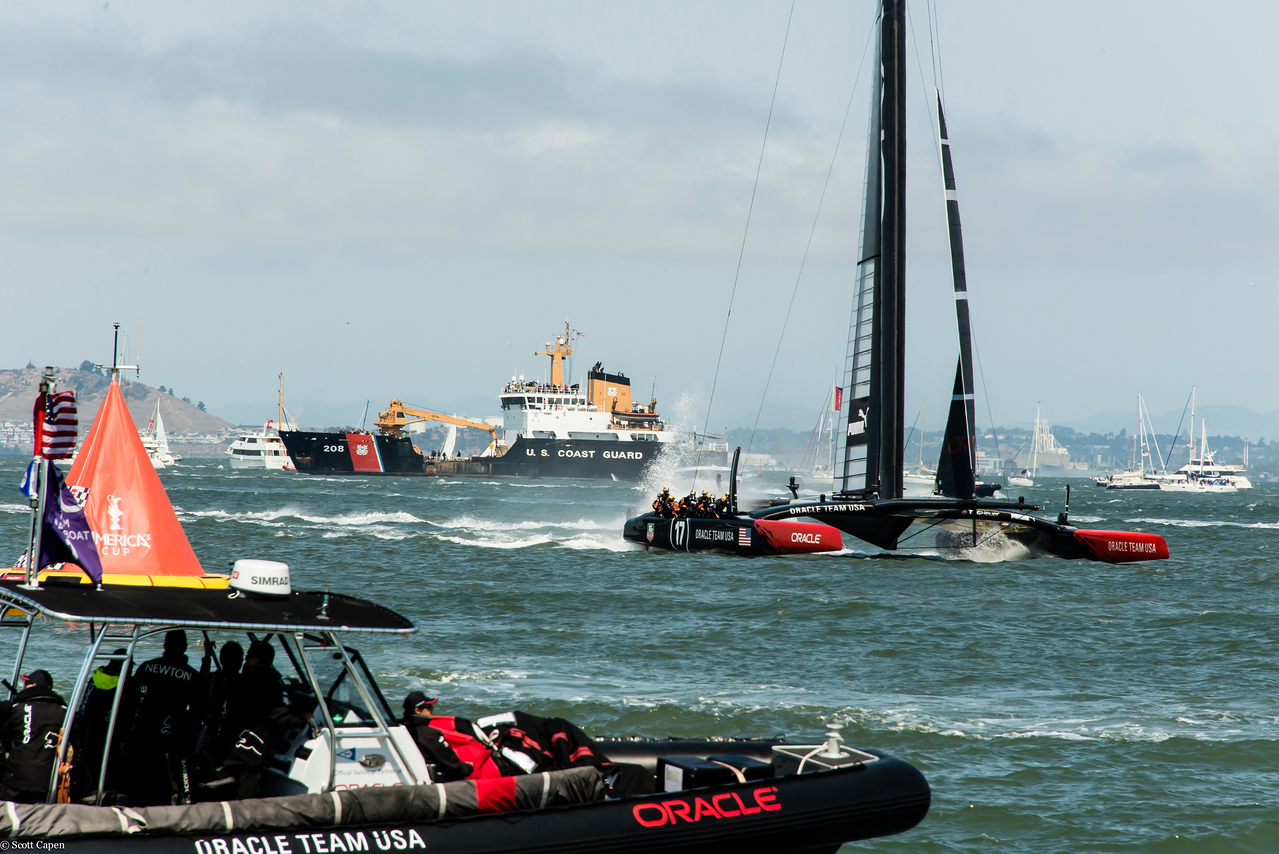 Oracle USA team closes in on the finish line in race five.