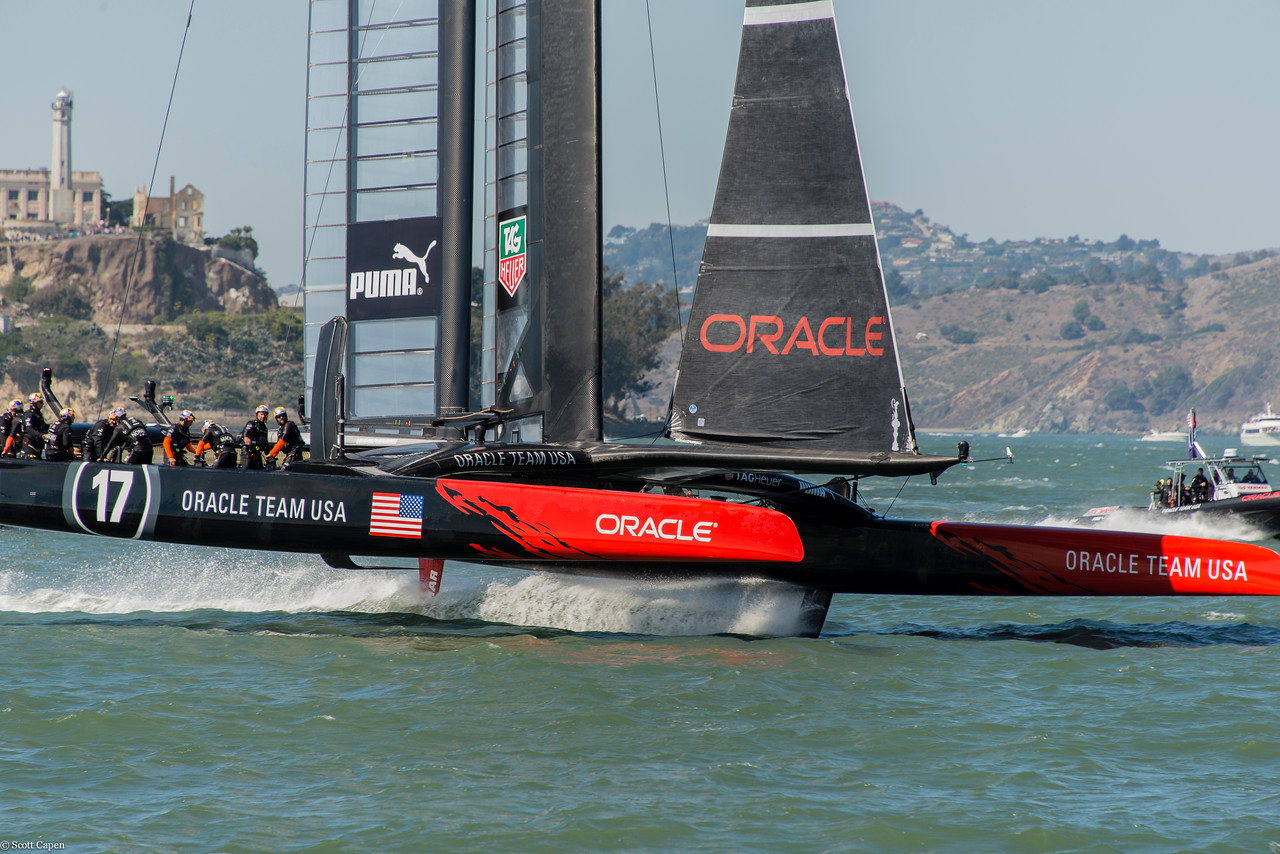 Team Oracle USA does a fly by Pier 39.
