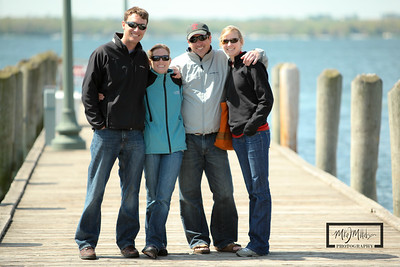 Darby Renneckar, Tim Sugar, Annie Neumann, Hugh Sugar on the Riviera pier in Lake Geneva.