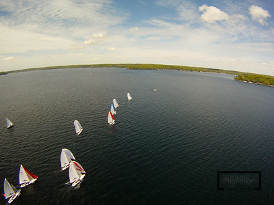 The Lake Geneva Yacht Club hosted the spring E Class Regatta on May 15th and 16th, 2010.  For more information on the E Scow, visit e-scow.org.  Aerial images were captured by suspending a camera from a kite.  Winds started at around 5-12 mph and built to 10-20 mph through the day.  © Copyright m2 Photography - Michael J. Mikkelson 2009. All Rights Reserved. Images can not be used without permission.