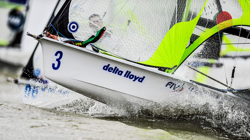 Umberto Crivelli Visconti from Italy  race a 49er at the Delta Lloyd Regatta held in Medemblik, Netherlands on Monday 24th May 2016