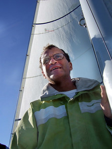"Marc Lambros - Sailing on San Francisco Bay on Ron Young's classic wooden boat ""Youngster"""