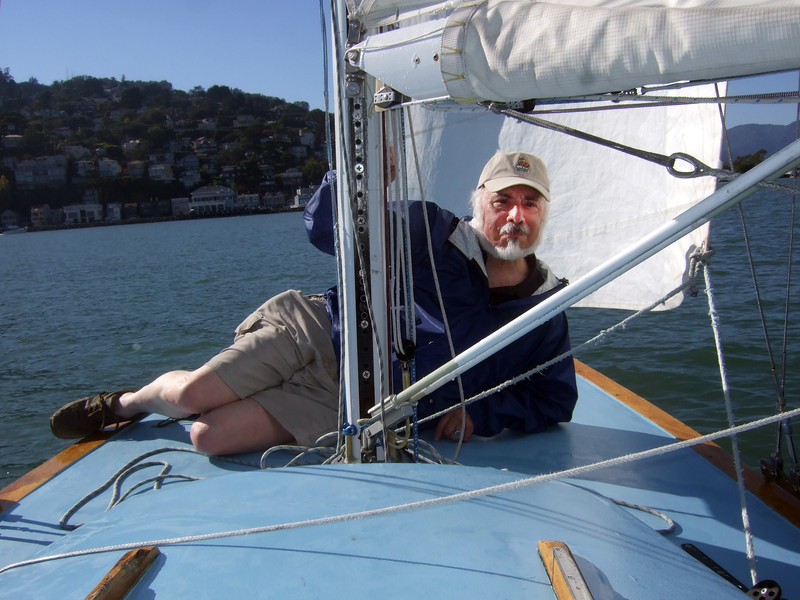 """Stephen Somerstein - Sailing on San Francisco Bay on Ron Young's classic wooden boat """"Youngster"""""""