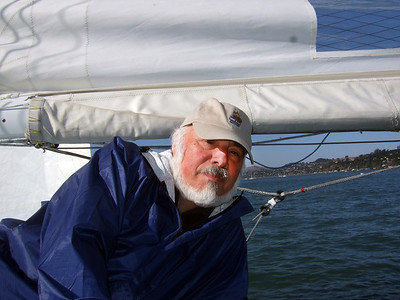 "Stephen Somerstein - Sailing on San Francisco Bay on Ron Young's classic wooden boat ""Youngster"""