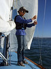 """Silas, Marc Lambros' son - Sailing on San Francisco Bay on Ron Young's classic wooden boat """"Youngster"""""""
