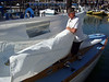 "Marc Lambros setting sails - Sailing on San Francisco Bay on Ron Young's classic wooden boat ""Youngster"""