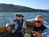 """Ron Young and Joan Wheeler, lady friend - Sailing on San Francisco Bay on Ron Young's classic wooden boat """"Youngster"""""""