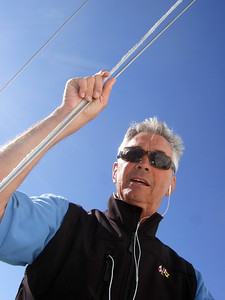 """Ron Young - Sailing on San Francisco Bay on Ron Young's classic wooden boat """"Youngster"""""""