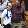 CARL RUSSO/Staff photo. Salem High School defeated Dover in tournament volleyball action. Salem's Kara Thomas is congratulated by her father, Bill Thomas. 10/31/2012.