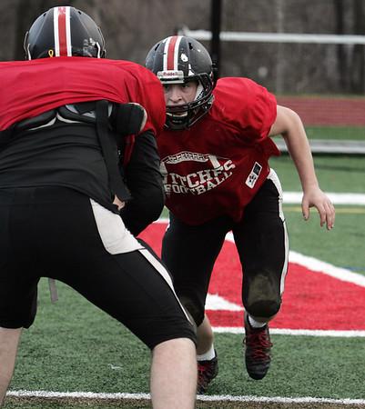 KEN YUSZKUS/Staff photo.  Salem High football player Joey Byors at practice on Monday.   11/24/14