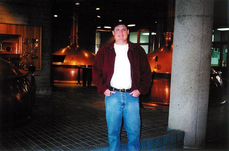 Brett inside Anchor's copper brewhouse