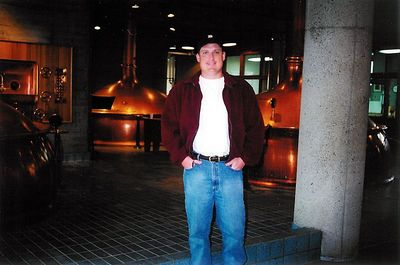 Brett inside Anchor's copper brewhouse