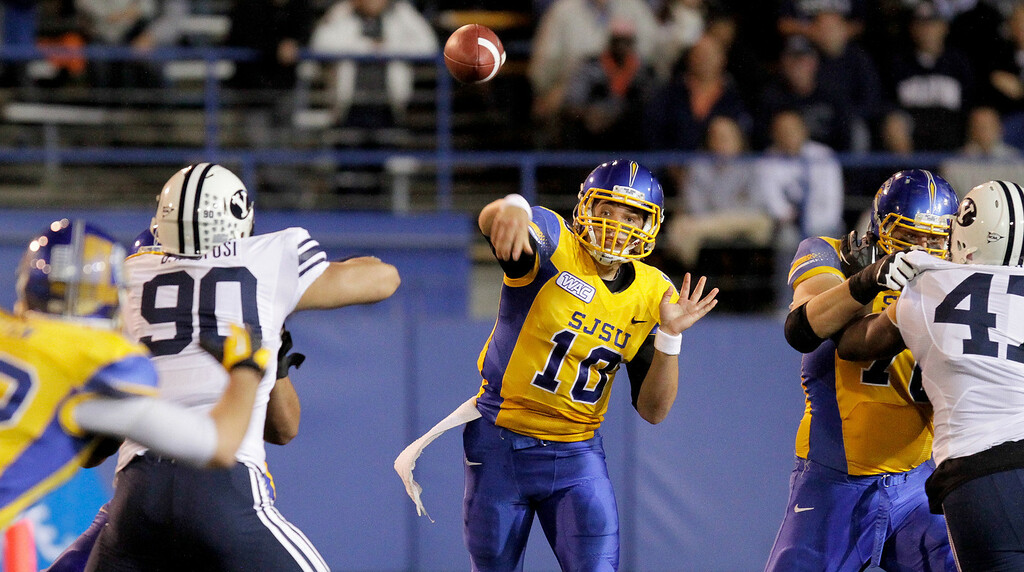 San Jose State Spartans quarterback David Fales (10) throws a pass against Brigham Young in the first quarter of an NCAA college football game in San Jose, Calif., Saturday, Nov. 17, 2012. (AP Photo/John Storey)