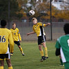 Record-Eagle/Keith King<br /> Traverse City Central's Noah Mitchell Ward heads the ball against Alpena Thursday, October 18, 2012 at the Coast Guard Field in Traverse City.