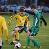 Record-Eagle/Keith King<br /> Traverse City Central's Briac Le Guen makes a move against Alpena Thursday, October 18, 2012 at the Coast Guard Field in Traverse City.