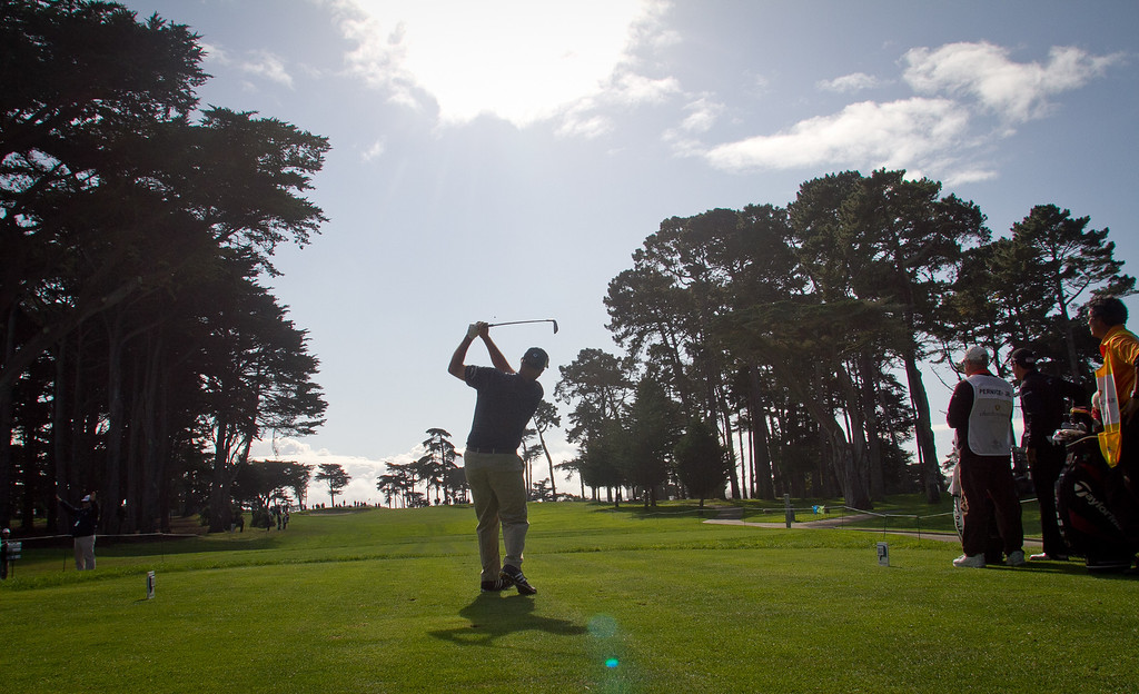 Tom Lehman tees off at the 3rd hole at the Schwab Cup Championship final round at Harding Park Golf Course in San Francisco, Calif., on Sunday, November 6, 2011.