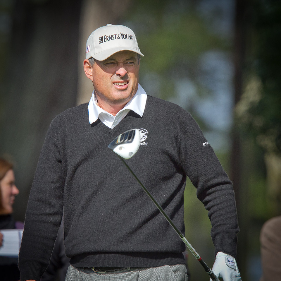Loren Roberts watches his tee shot at the 2nd hole during the Schwab Cup Championship final round at Harding Park Golf Course in San Francisco, Calif., on Sunday, November 6, 2011.