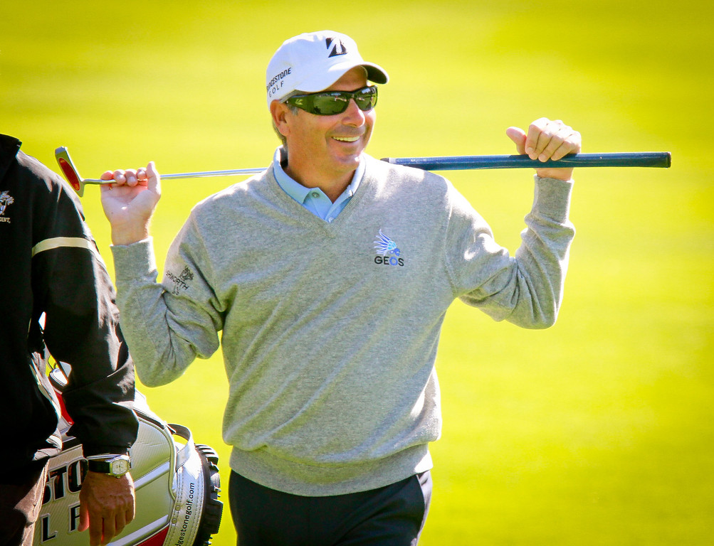 Fred Couples walks onto the 6th green during the Schwab Cup Championship Pro-Am at Harding Park Golf Course in San Francisco, Calif., on Wednesday, November 2, 2011.