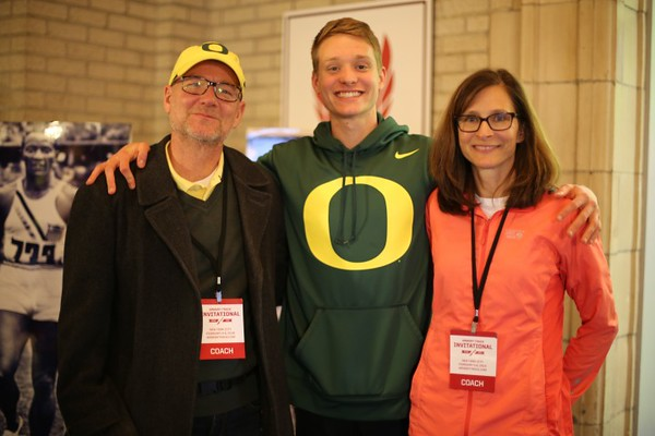 Drew with his parents Marc and Joan after breaking a four-minute mile for the first time. PROVIDED PHOTO