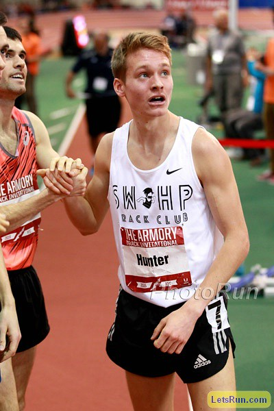 Drew Hunter checks his time at the 2016 Armory Invitational. PROVIDED PHOTO